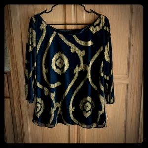 Loose blue and gold dressy shirt